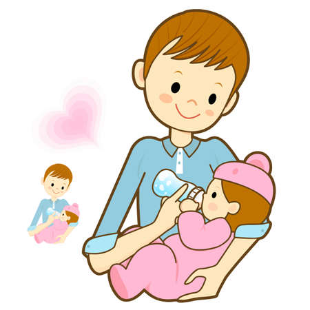 breastmilk: Father give a baby milk a bottle. Marriage and Parenting Character Design Series.