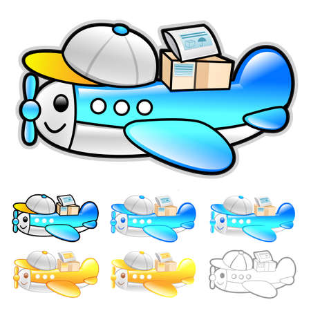 package deliverer: Airplane delivery Illustration. Product and Distribution System Design Series.