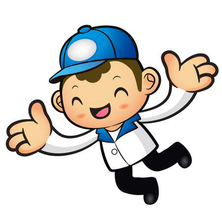 redcap: The Blue Delivery Man mascot has been welcomed with both hands. Product and Distribution System Character Design Series. Illustration