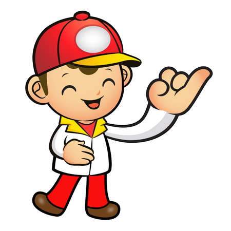 package deliverer: The Red Delivery Man mascot takes the promise of a with the right hand. Product and Distribution System Character Design Series.