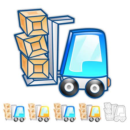 package deliverer: Forklift moving objects Illustration. Product and Distribution System Design Series.