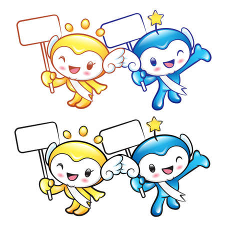star mascot: The Sun and Star mascot holding a board. Nature Character Design Series.