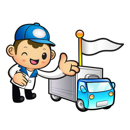 convoy: Blue Delivery Man mascot Toward the truck convoy. Product and Distribution System Character Design Series.