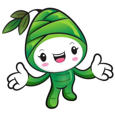 plantlife: Bamboo shoot Character the direction of pointing with both hands. Nature Character Design Series. Illustration