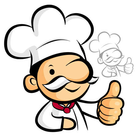 nourishment: Chef Mascot the hand best gesture. Work and Job Character Design Series. Illustration