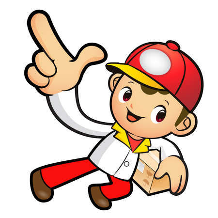 package deliverer: Red Delivery Man mascot the left hand guides and the right hand is holding a box. Product and Distribution System Character Design Series. Illustration