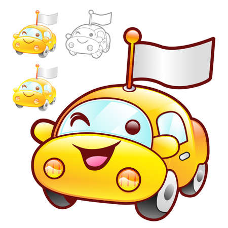 package deliverer: Cute Yellow Car mascot. Product and Distribution System Character Design Series.