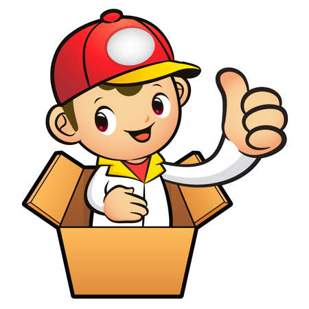 redcap: Red Delivery Man Mascot the hand best gesture in cardboard boxes. Product and Distribution System Character Design Series.