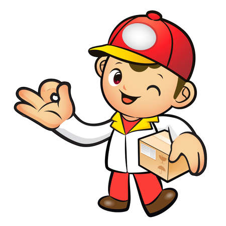 package deliverer: Red Delivery Man Mascot the OK gesture. Home and Family Character Design Series. Illustration