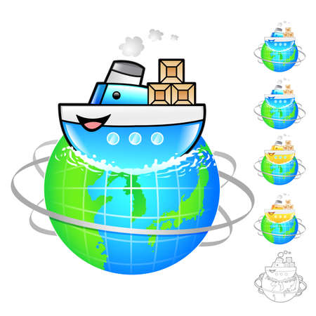 package deliverer: Ship of overseas delivery Illustration. Product and Distribution System Design Series.