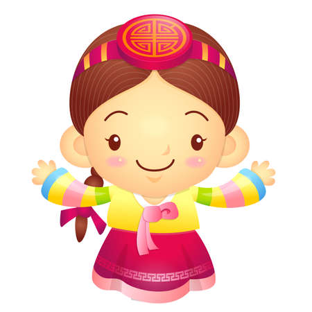 korea girl: Girl mascot the direction of pointing with both hands. Korea Traditional Cultural character design series.