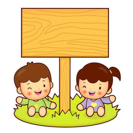 homemaker: Brother and Sister Mascot holding a big board with both hands. Home and Family Character Design Series. Illustration