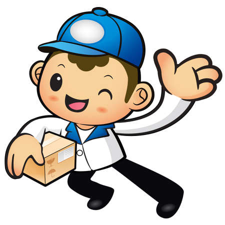 package deliverer: Blue Delivery Man mascot the left hand guides and the right hand is holding a box. Product and Distribution System Character Design Series.