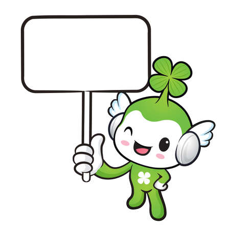 fourleafed: The Lucky Fairy mascot holding a board. Nature Character Design Series.
