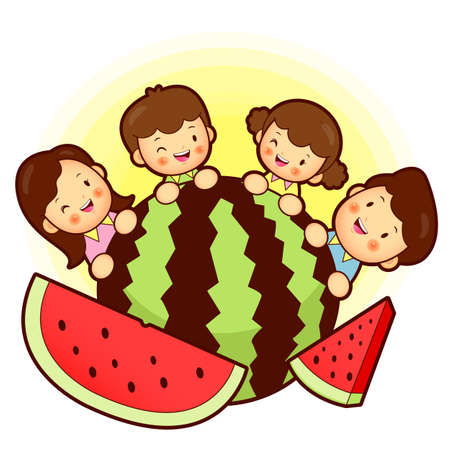 watermelon woman: Large watermelon and Family Mascot. Home and Family Character Design Series.