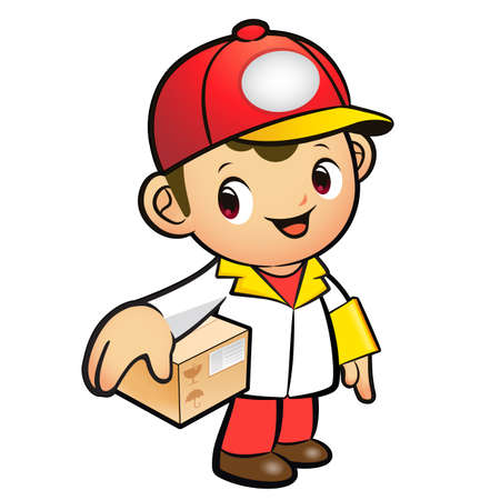 package deliverer: Red Delivery Man Mascot the hand is holding a Box. Product and Distribution System Character Design Series.
