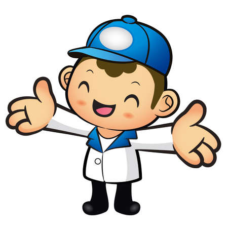welcomed: The Blue Delivery Man mascot has been welcomed with both hands. Product and Distribution System Character Design Series. Illustration