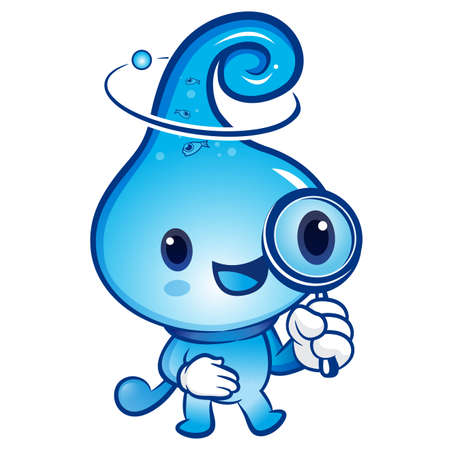 billow: Water drop mascot examine a with a magnifying glass. Nature Character Design Series.