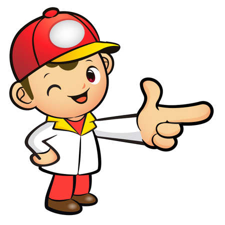 package deliverer: Red Delivery Man mascot the direction of pointing. Product and Distribution System Character Design Series.