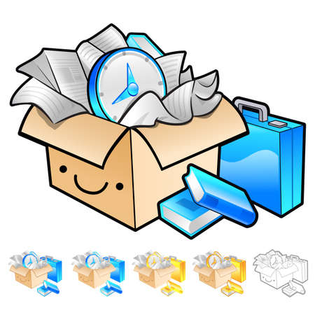 package deliverer: Delivery box packaging Illustration. Product and Distribution System Design Series.