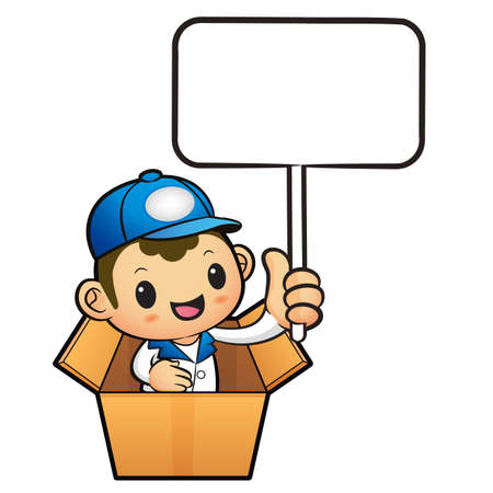 package deliverer: Blue Delivery Man Mascot in box the hand is holding a picket. Product and Distribution System Character Design Series.