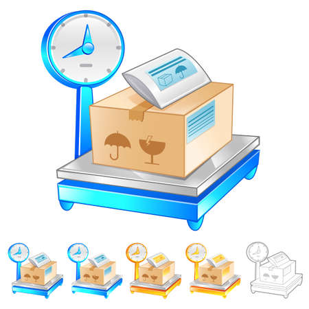 package deliverer: Illustration of Scales to measure the weight of the product. Product and Distribution System Design Series.