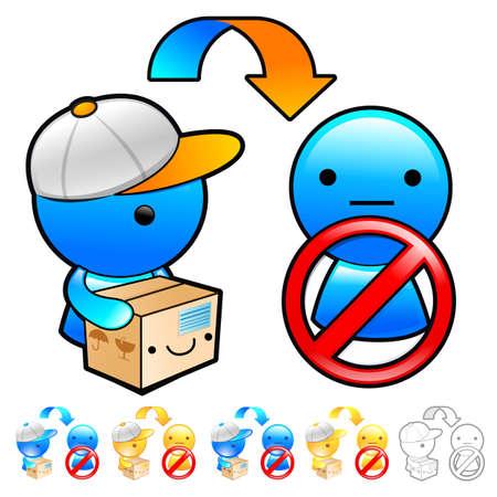 package deliverer: Goods addressee absence Illustration. Product and Distribution System Design Series.