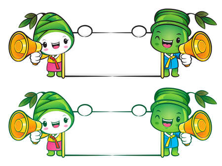 plantlife: Bamboo and Bamboo shoot mascot the hand is holding a picket. Nature Character Design Series.