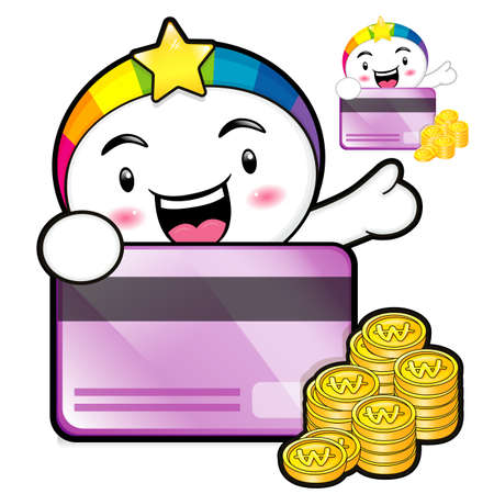 smart goals: The Rainbow Mascot is holding a big credit card. Dream of Fairy Character Design Series.