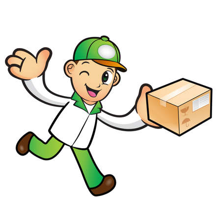 package deliverer: Green Delivery Man mascot the left hand guides and the right hand is holding a box. Product and Distribution System Character Design Series.
