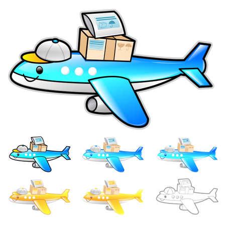 package deliverer: Airplane International Shipping Illustration. Product and Distribution System Design Series. Illustration