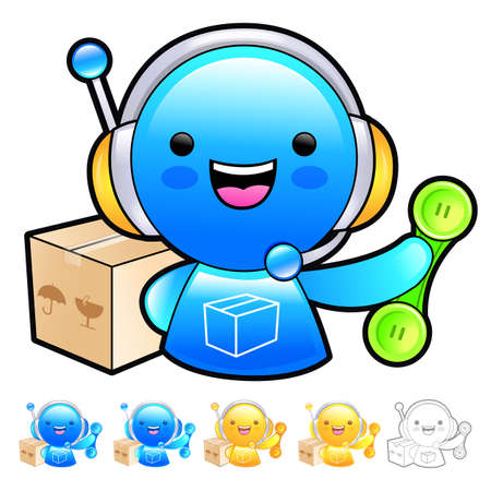 answer phone: Delivery service man Mascot To answer a phone call orders. Product and Distribution System Character Design Series.