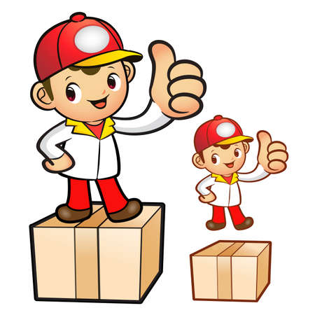 package deliverer: Red Delivery Man Mascot the hand best gesture. Product and Distribution System Character Design Series. Illustration