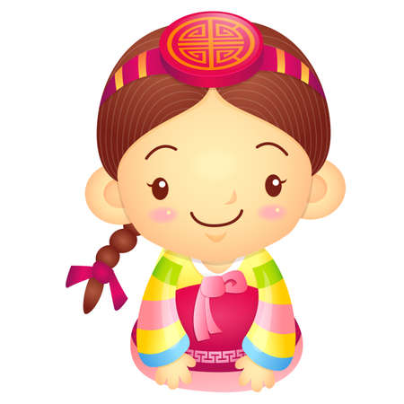 korea girl: Girl Mascot is a polite greeting. Korea Traditional Cultural character design series. Illustration