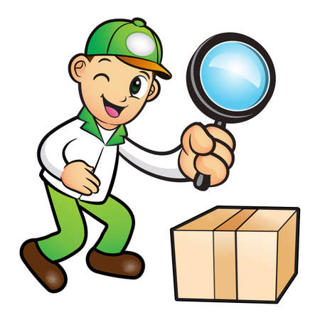 package deliverer: Green Delivery Man mascot examine a with a magnifying glass. Product and Distribution System Character Design Series.