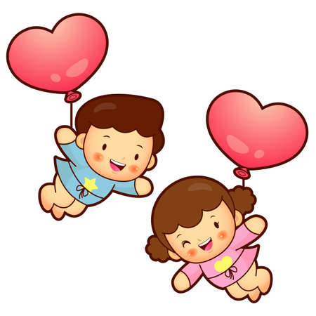 domesticity: Boys and girls Mascot flying big balloons. Home and Family Character Design Series.