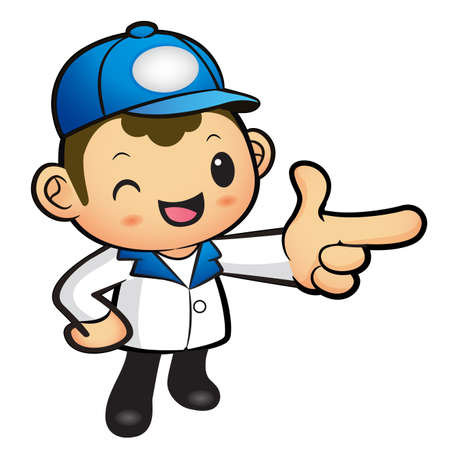 package deliverer: Blue Delivery Man mascot the direction of pointing. Product and Distribution System Character Design Series.