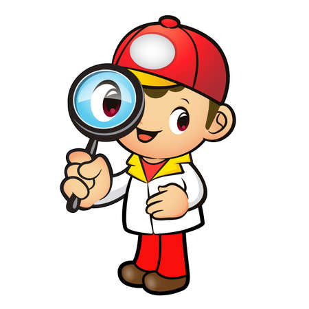 package deliverer: Red Delivery Man mascot examine a with a magnifying glass. Product and Distribution System Character Design Series. Illustration