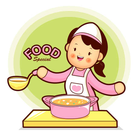 homemaker: Housewife Mascot have soup cooking. Home and Family Character Design Series. Illustration