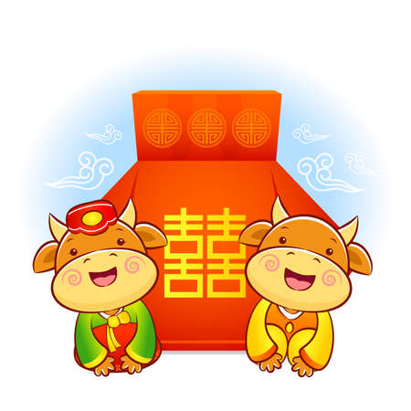 lucky bag: A Bull and Cow character in a lucky bag. Korea Traditional Cultural character design series.