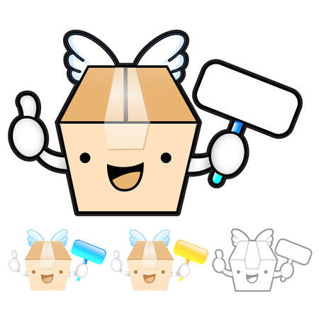 package deliverer: Diverse styles of Delivery Box Mascot Sets. Product and Distribution System Design Series. Illustration