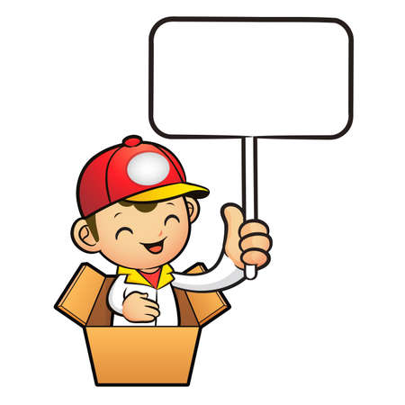 package deliverer: Red Delivery Man Mascot in box the hand is holding a picket. Product and Distribution System Character Design Series.