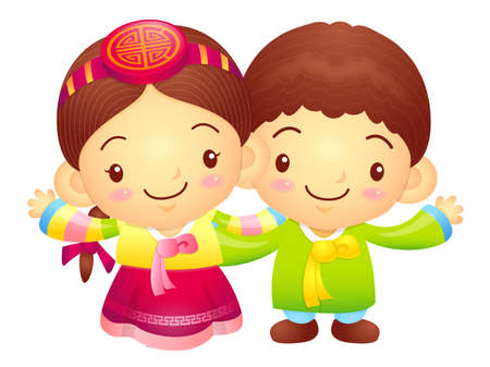 korea girl: The Boy and Girl mascot has been welcomed with both hands. Korea Traditional Cultural character design series. Illustration