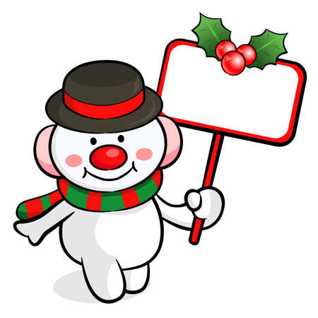commemoration day: Snowman mascot the hand is holding a picket. Christmas Character Design Series.