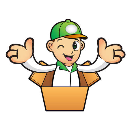 package deliverer: Green Delivery Man Mascot the hand welcome in cardboard boxes. Product and Distribution System Character Design Series.