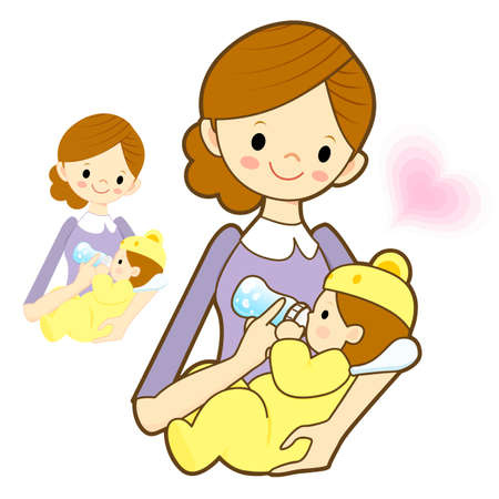 breastmilk: Mother give a baby milk a bottle. Marriage and Parenting Character Design Series. Illustration