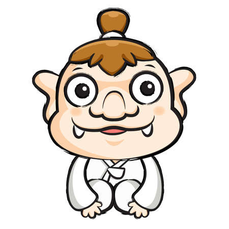 hobgoblin: Korea goblin Mascot is a polite greeting. Korea Traditional Cultural character design series.