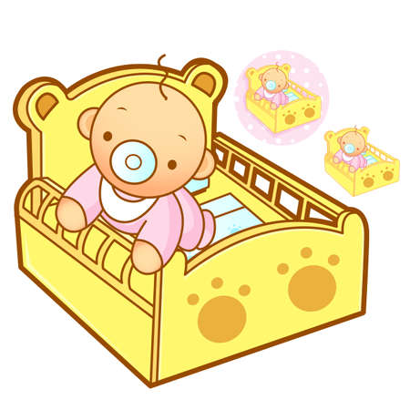 domesticity: Baby playing in baby bed. Home and Family Character Design Series.