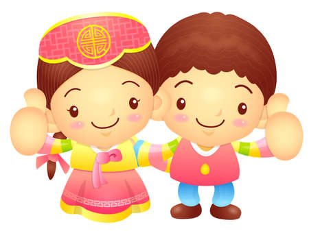 korea girl: Boy and Girl Mascot the hand best gesture. Korea Traditional Cultural character design series. Illustration