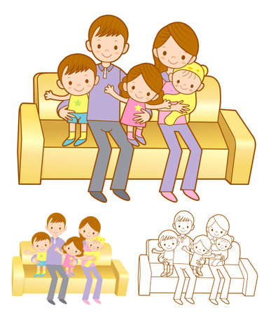 cuddle: Family Mascot in a Sitting on the sofa. Home and Family Character Design Series. Illustration